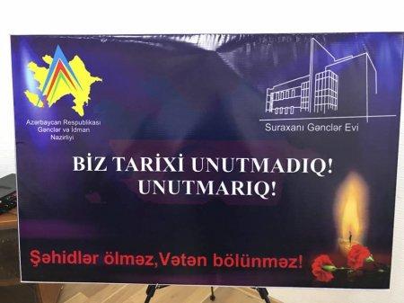 Suraxanı Gənclər Evinində 31 Mart Azərbaycanlıların Soyqırımının 100-cü il dönümünə həsr olunmuş tədbir keçirilmişdir.