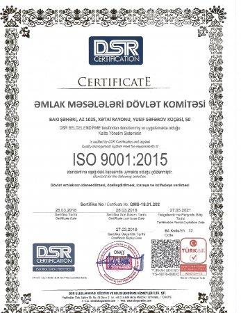 Əmlak Məsələləri Dövlət Komitəsi İSO standartı üzrə 2 sahəyə aid beynəlxalq sertifikata layiq görülüb