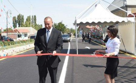 İlham Əliyev avtomobil yolunun açılışında - FOTO