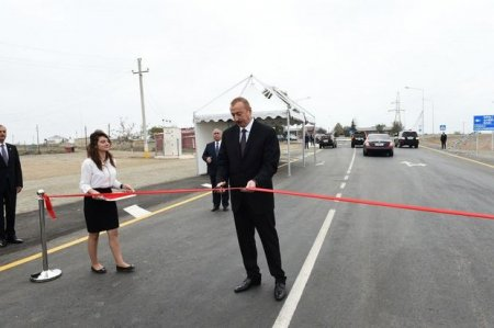 İlham Əliyev yeni yolların açılışında - FOTO